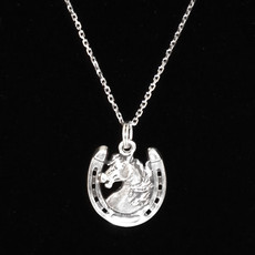 Horse Head with Horseshoe Sterling Silver Charm