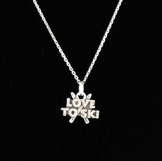 Love to Ski Sterling Silver Charm
