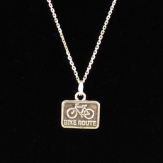 Bike Route Sterling Silver Charm