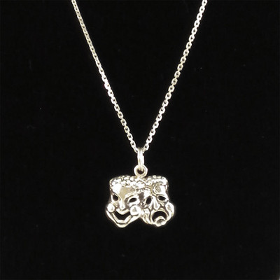 Comedy Tragedy Mask Sterling Silver Charm