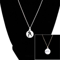 Hockey Player Medallion Sterling Silver Charm