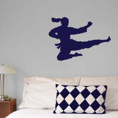 Martial Artist Jumping Female Wall Décor in Royal Blue