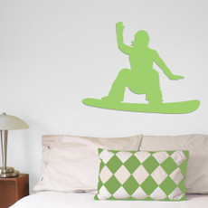 Snowboarder Female Wall Décor in Green