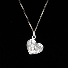 Heart with I Love Ball Sterling Silver Charm