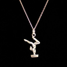 Gymnast 3D On Beam Sterling Silver Charm