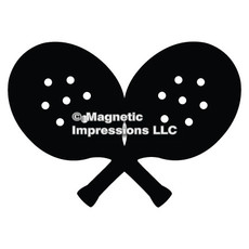 Paddle Tennis Player Car Magnet in Black