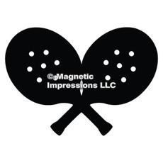 Paddle Tennis Player Car Magnet in Black