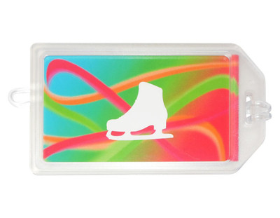 Figure Skate Plastic Luggage Tag