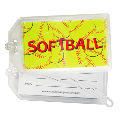 Softball Plastic Luggage Tag front and back