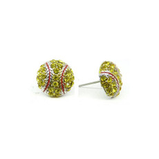 Softball Rhinestone Earrings