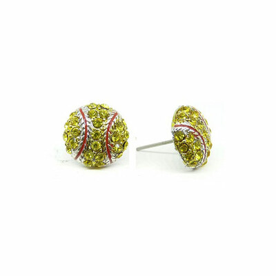 Softball Rhinestone Earrings