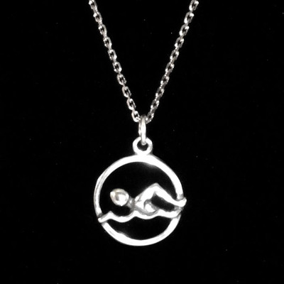 Swimmer in Circle Sterling Silver Charm