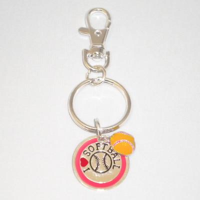 I Heart Softball Keychain
