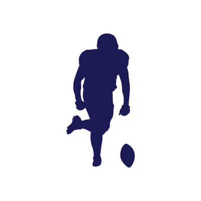 Football Player Kicking Car Window Decal in Blue