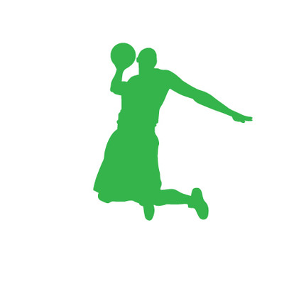 Basketball Player Dunk Car Window Decal in Lime