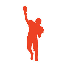 Football Player Catch Car Window Decal in Orange