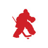 Ice Hockey Goalie Car Window Decal in Red