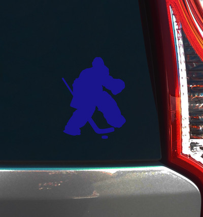 Ice Hockey Goalie Car Window Decal in Blue