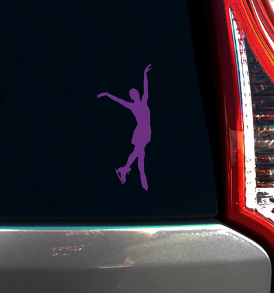 Figure Skater End Pose Car Window Decal in Lavender