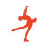 Figure Skater Layback Car Window Decal in Orange
