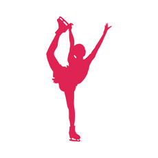 Figure Skater Spiral Car Window Decal in Hot Pink