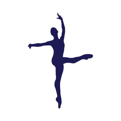 Ballet Dancer Developé Car Window Decal in Blue