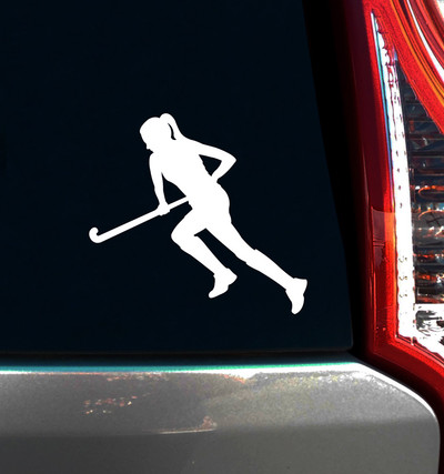 Field Hockey Run Window Decal in White