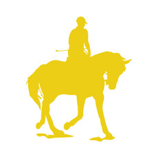 Equestrian Rider Car Window Decal in Yellow