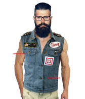 TOMMY CHONG VEST with PINS denim waistcoat cheech Up In Smoke costume