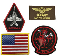 Top Gun Fighter Jacket Iron-On PATCH SET OF 4 Pete Mitchell Dust Devils