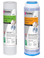 "Dual Housing Water Filter Cartridges PX051 & GC051 | SEDIMENT, TASTE & ODOUR REMOVAL | Length: 10"", Micron: 5"