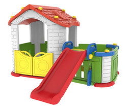 Sunshine Modular Playhouse Kid's Slide and Play Pen (red roof and yellow doors version)