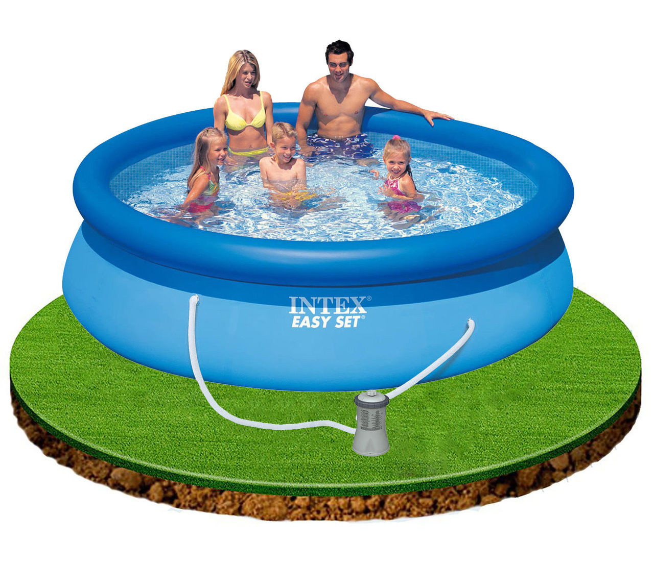 Intex 10 x 30 Easy Set Above Ground Inflatable Pool & Cover ...
