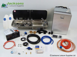 Van Conversion Kits 3 allow for optional customisation, making it easier to find the kit suited to you. *(Image shows cold water options with camping gaz regulator and right hand sink).