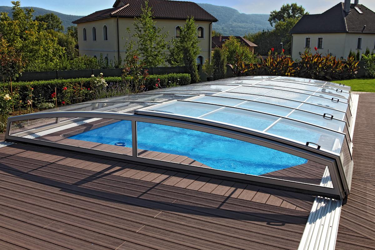 Visual low profile retractable telescopic swimming pool enclosure for Retractable swimming pool covers