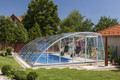 Practic Asymmetric Tall Retractable Swimming Pool Enclosure