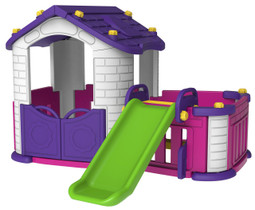 The pink big play house with slide.
