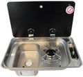 CAN Single Hob & Sink Campervan Combi Unit  Available in Right hand Burner and Left hand Sink