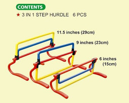The 3 different dimensions of the easily adjustable 3 in1 Step Training Hurdles