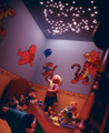 A children's room magically transformed with fibre optic ceiling star lights, which double as a fantastic nightlight
