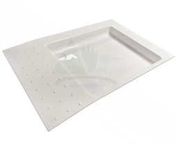 Universal shower tray with dimpled non-slip surface for caravan, motorhome, campervan or horsebox