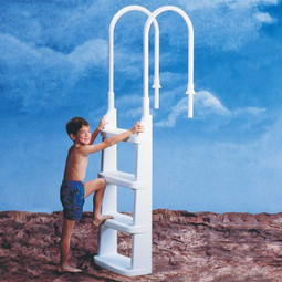 Easy-Incline Above Ground Swimming Pool Ladder (safe access for kids and elderly swimmers)