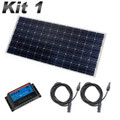 Caravan & Motorhome Solar panel 5 amp Kit 1 with charge controller, single core cables and solar panel.