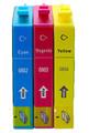 Epson T0802 T0803 T0804 cyan magenta & yellow printer ink cartidges