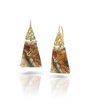 Boulder Opal & Yellow Diamond Earrings
