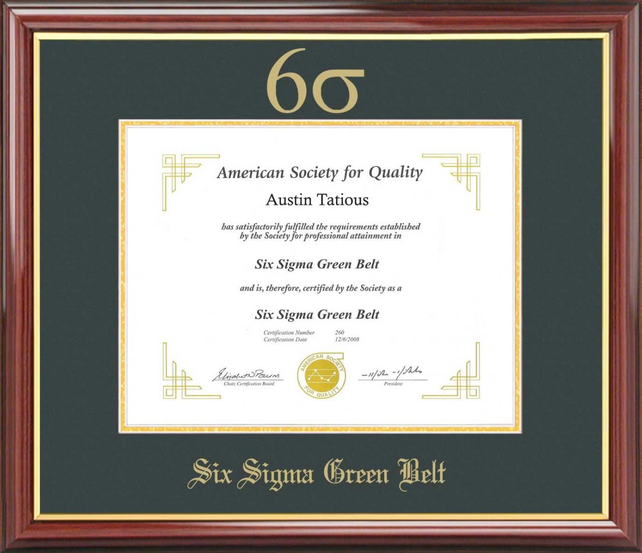 Six Sigma Green Belt Certificate Frame Mahogany With Green Mat