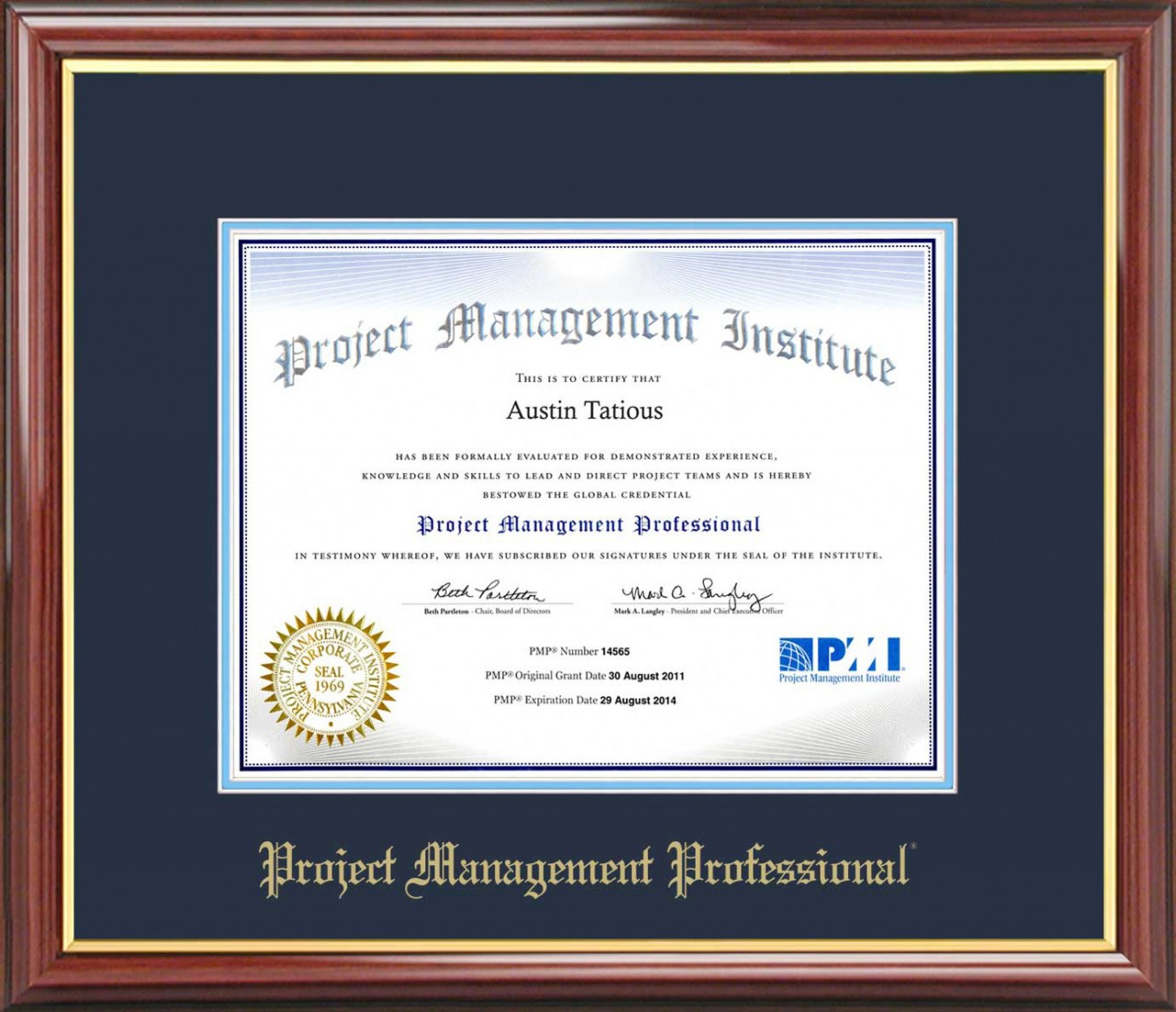 Pmp Certificate Frame Mahogany With Navy Mat