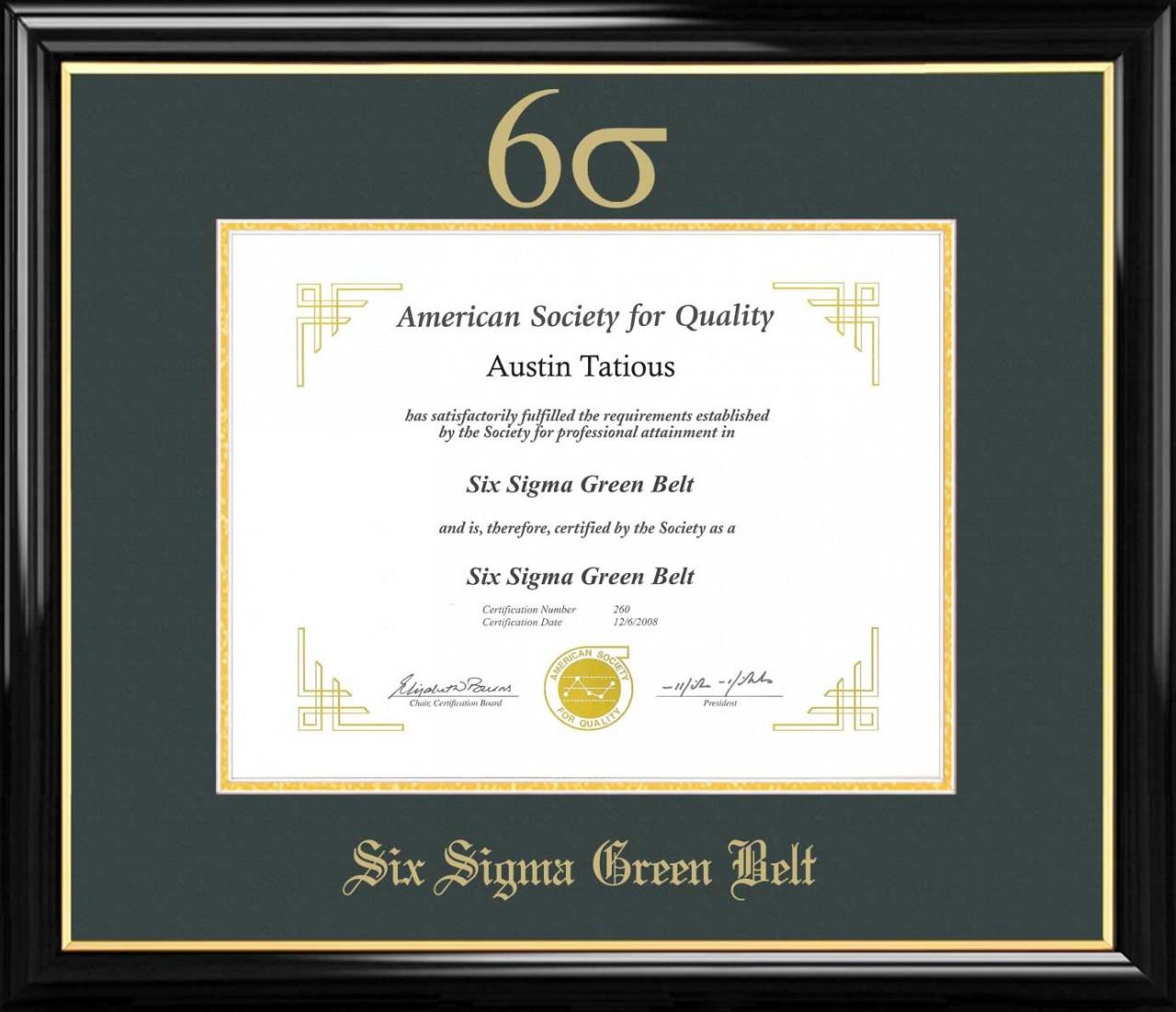 Six Sigma Green Belt Certificate Frame Black With Green Mat