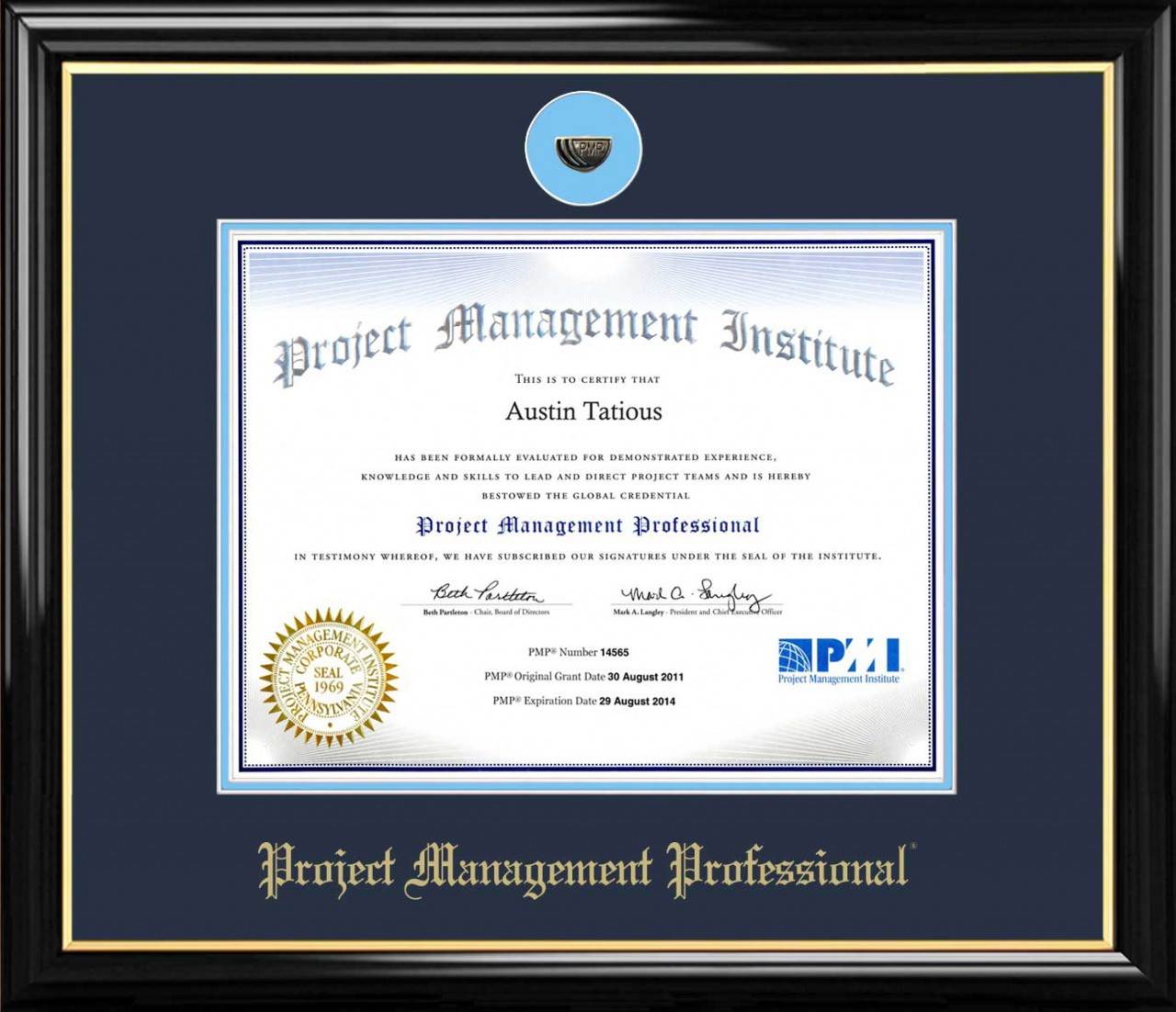 Pmp Certificate Frame Black With Navy Mat Lapel Pin Opening