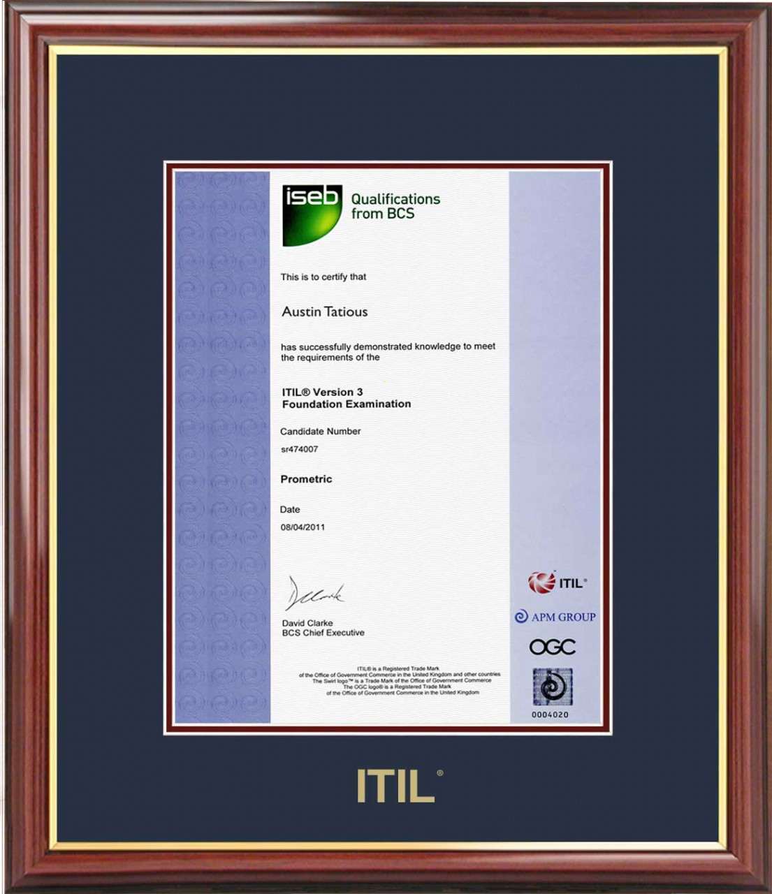 Itil Certificate Frame Mahogany With Navy Mat